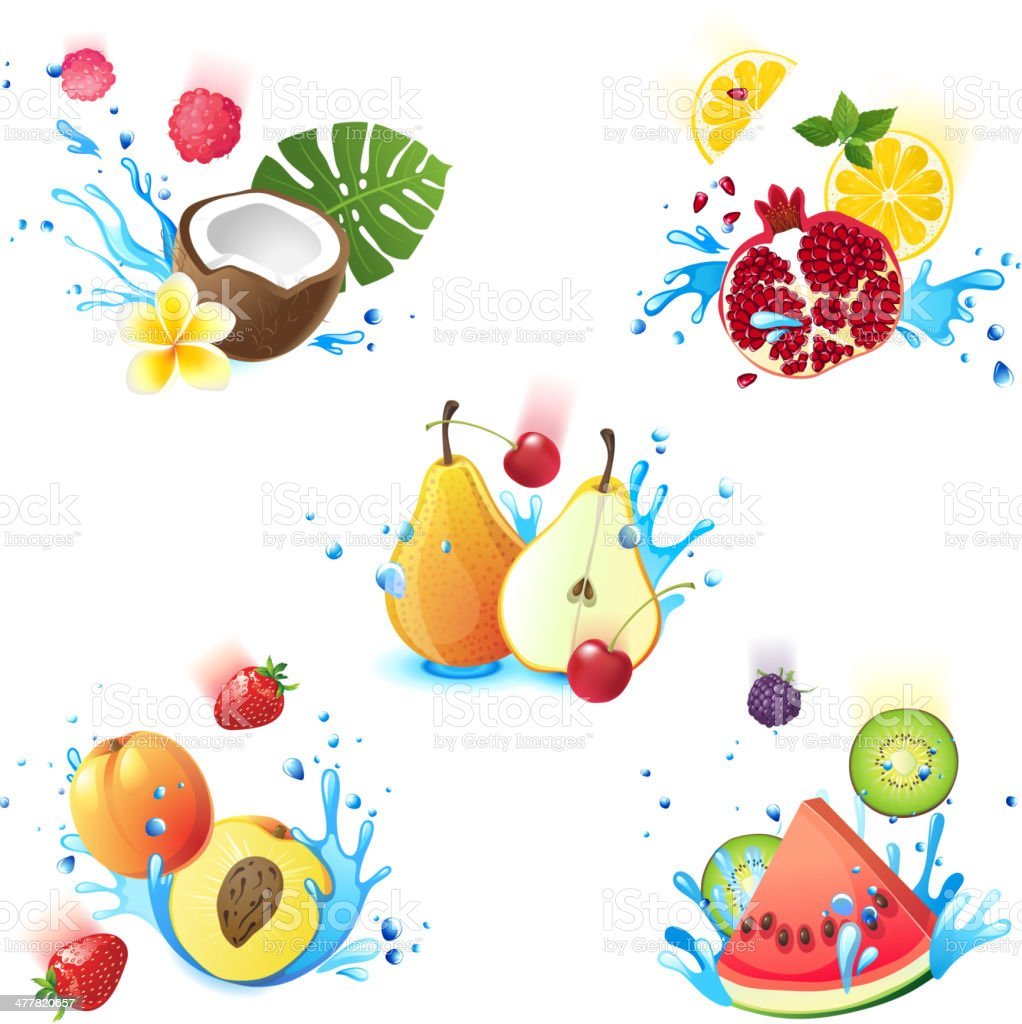 Fruits in splashes royalty-free stock vector art