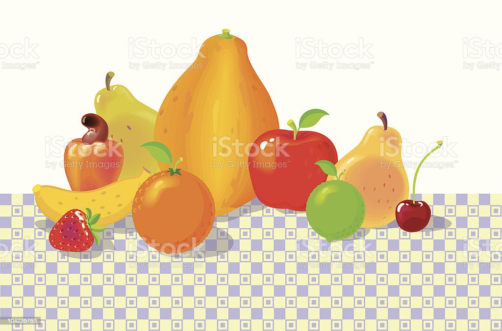 Fruits on the Table royalty-free stock vector art