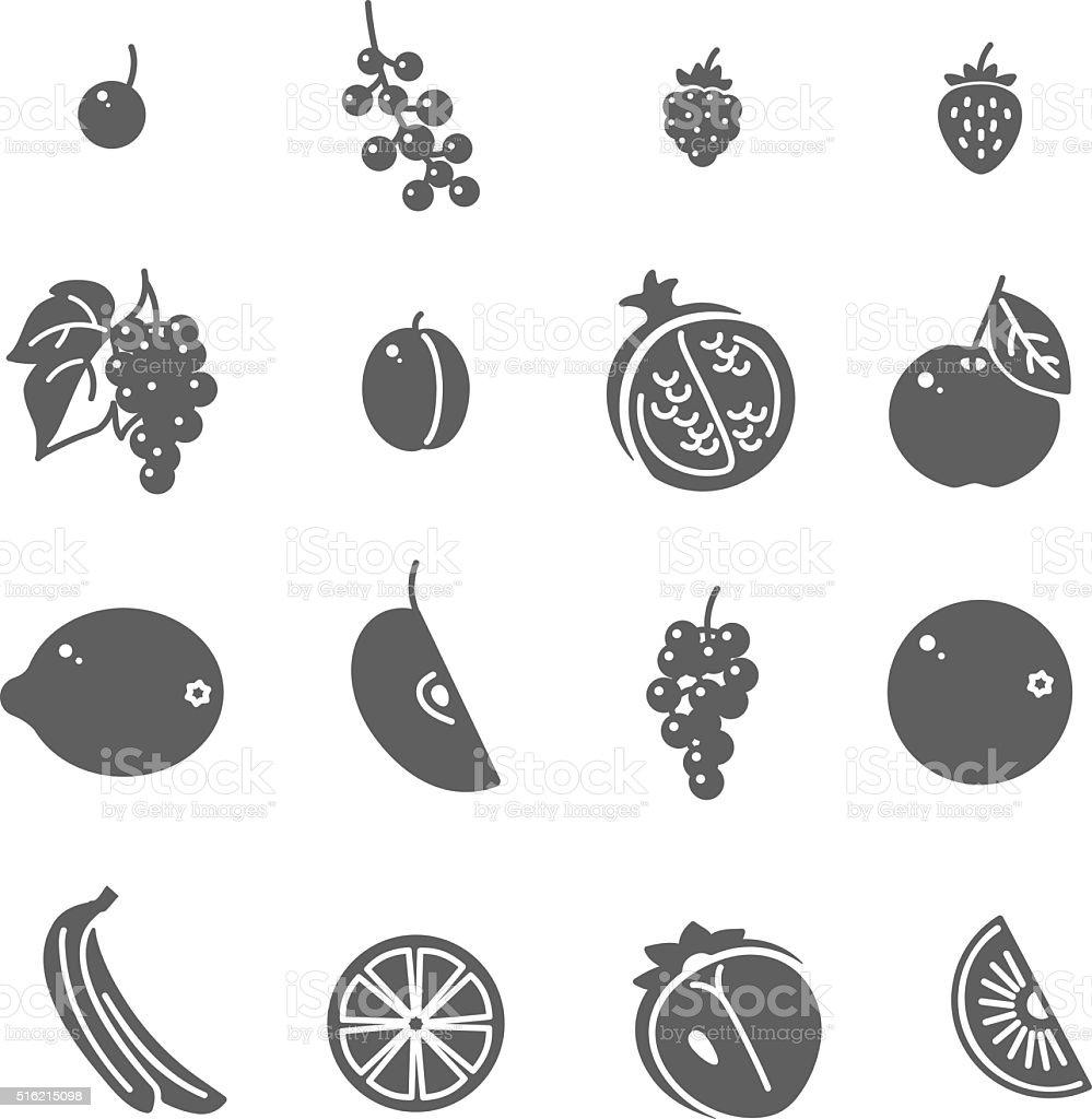 Fruits. Set of Black Icons. vector art illustration
