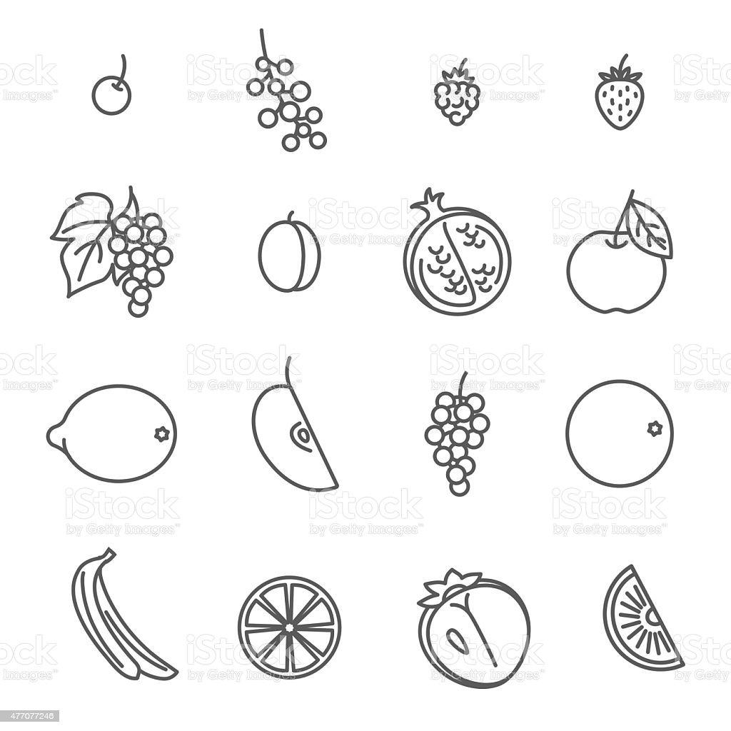 Fruits. Set of Outline Icons. vector art illustration