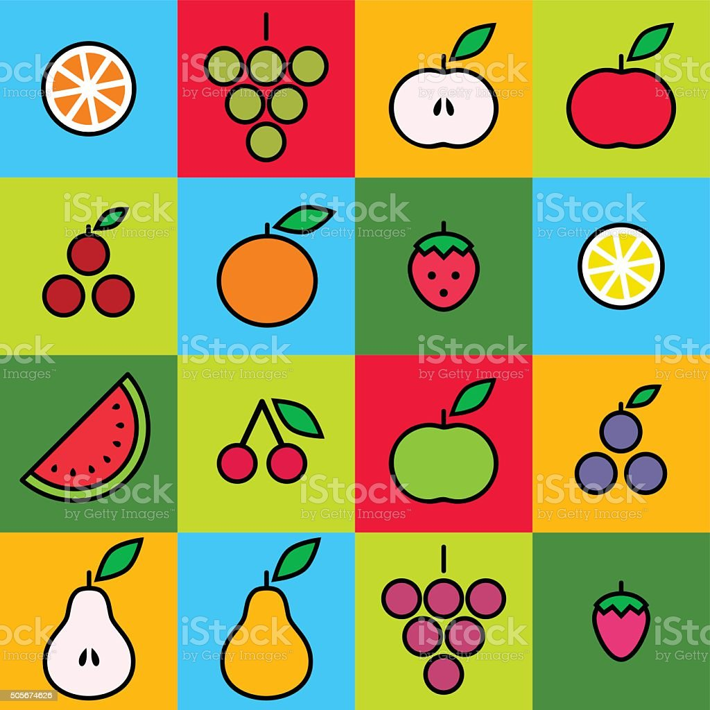 Fruits vector art illustration
