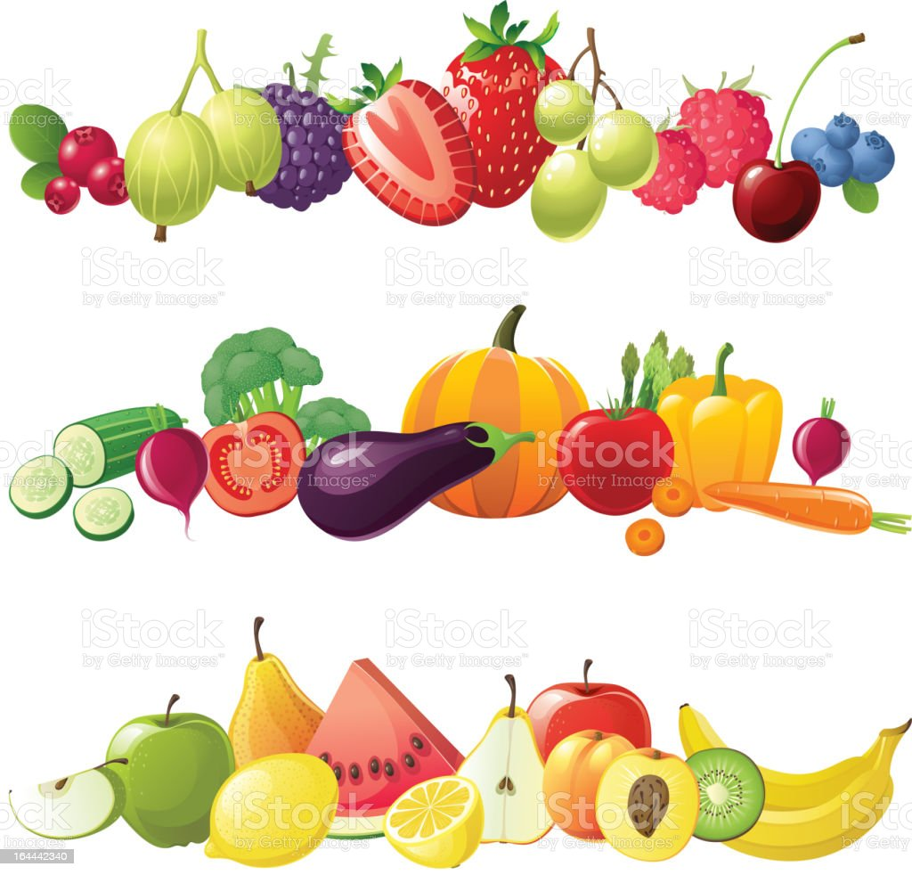 fruits vegetables and berries borders vector art illustration