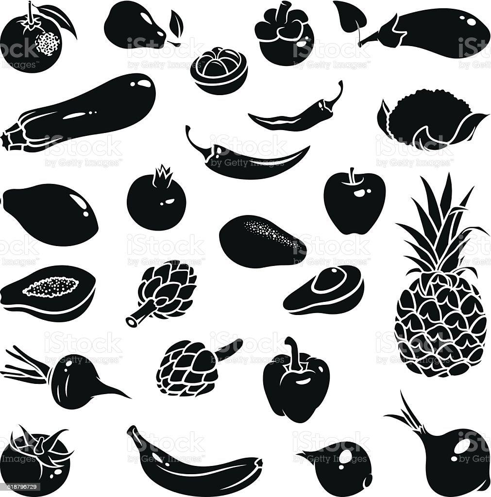 Fruits Vegetables Icons vector art illustration