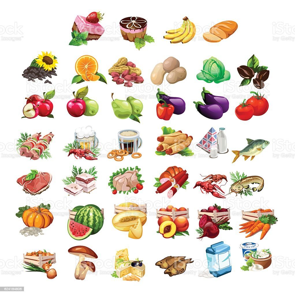 Fruits, vegetables, meat, fish and dairy products vector art illustration