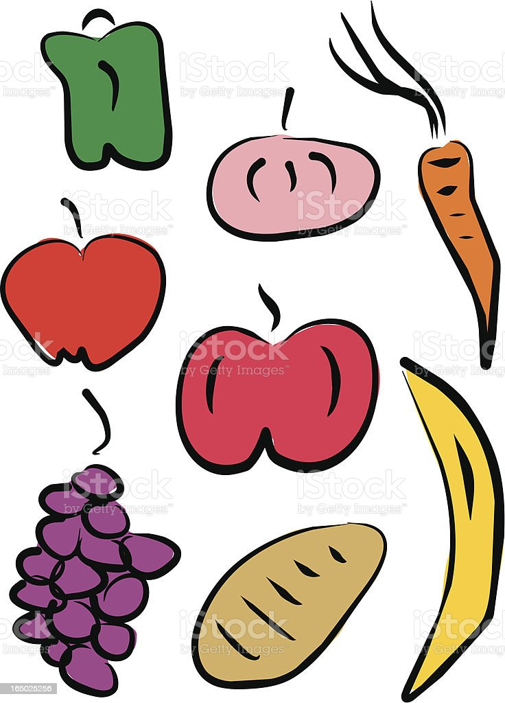 Fruits $ Vegetables (Vector) royalty-free stock vector art
