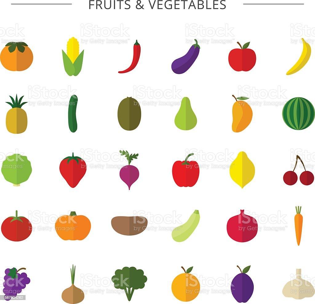 Fruits, vegetables. vector art illustration