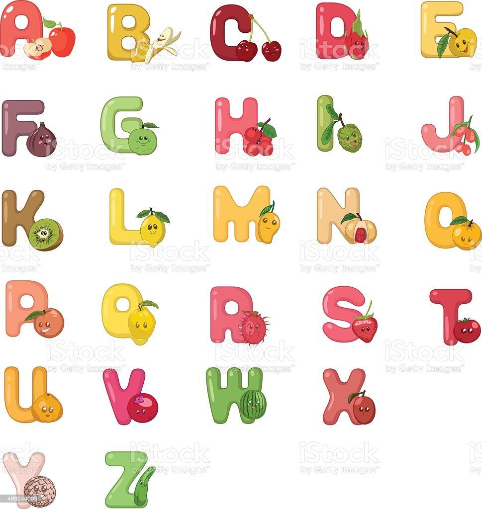 Fruity Alphabets vector art illustration