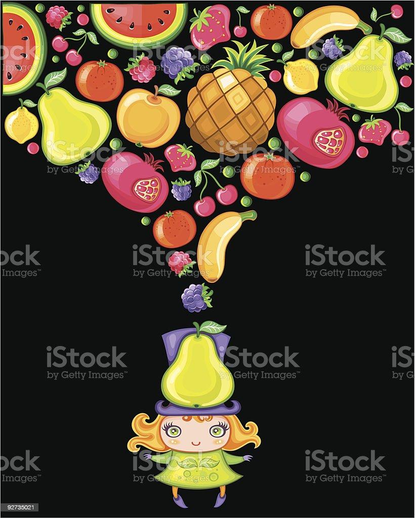 Fruity girl vector art illustration