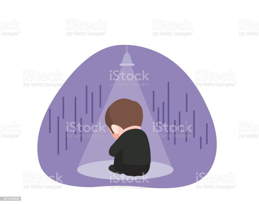 Frustrated and lonely businessman vector art illustration