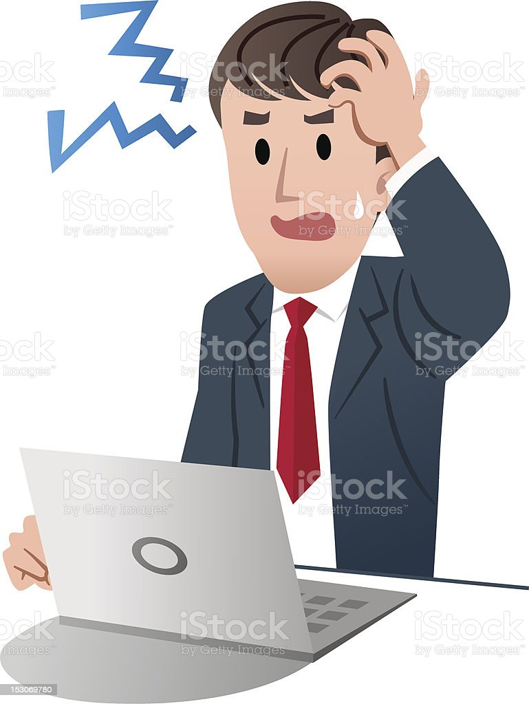Frustrated businessman holding his head royalty-free stock vector art
