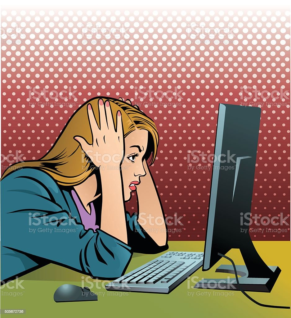 Frustrated Computer Operator vector art illustration