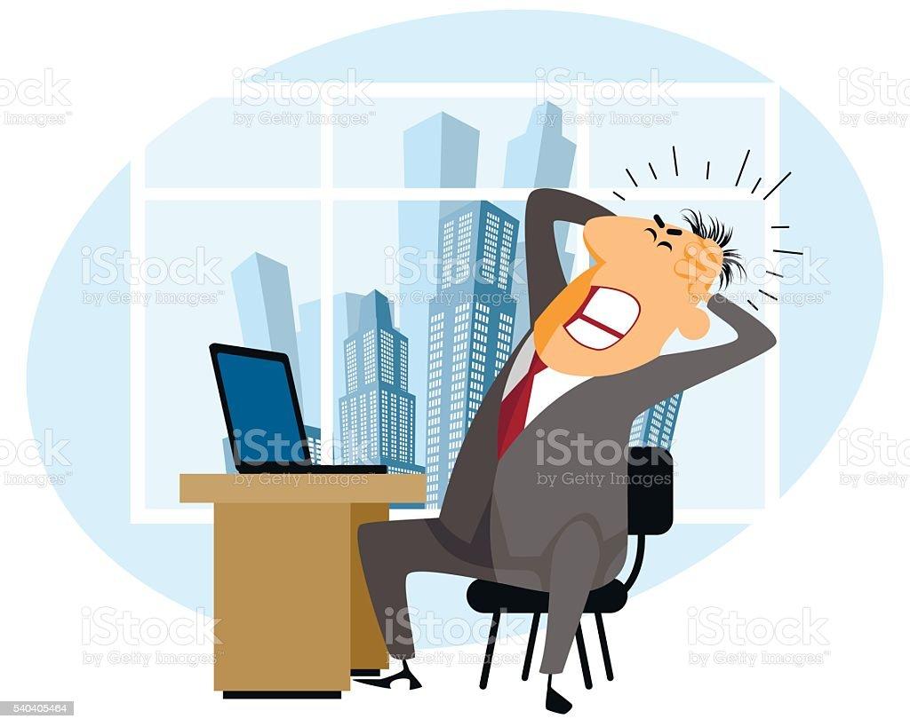 Frustrated man at work vector art illustration
