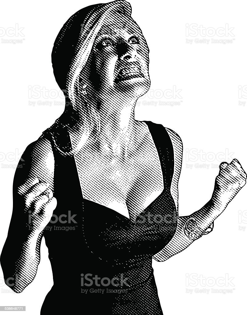 Frustrated Woman Screaming vector art illustration