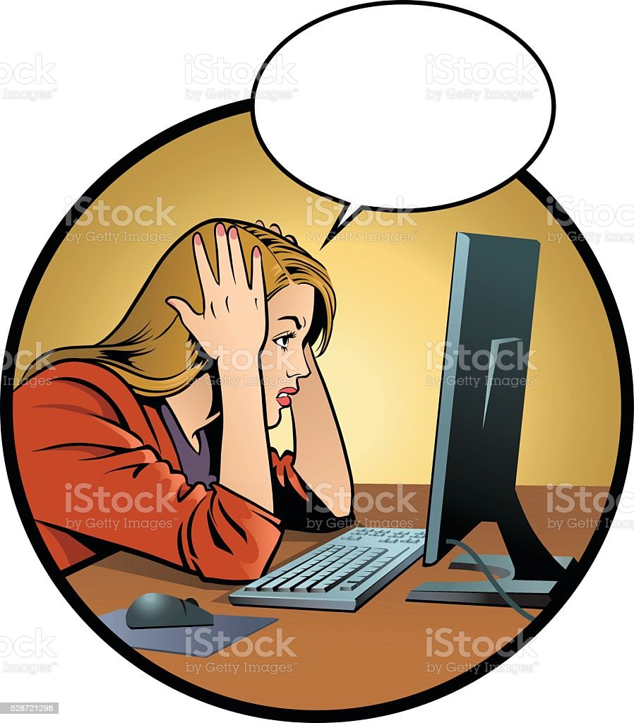 Frustrated Young Woman and Computer vector art illustration