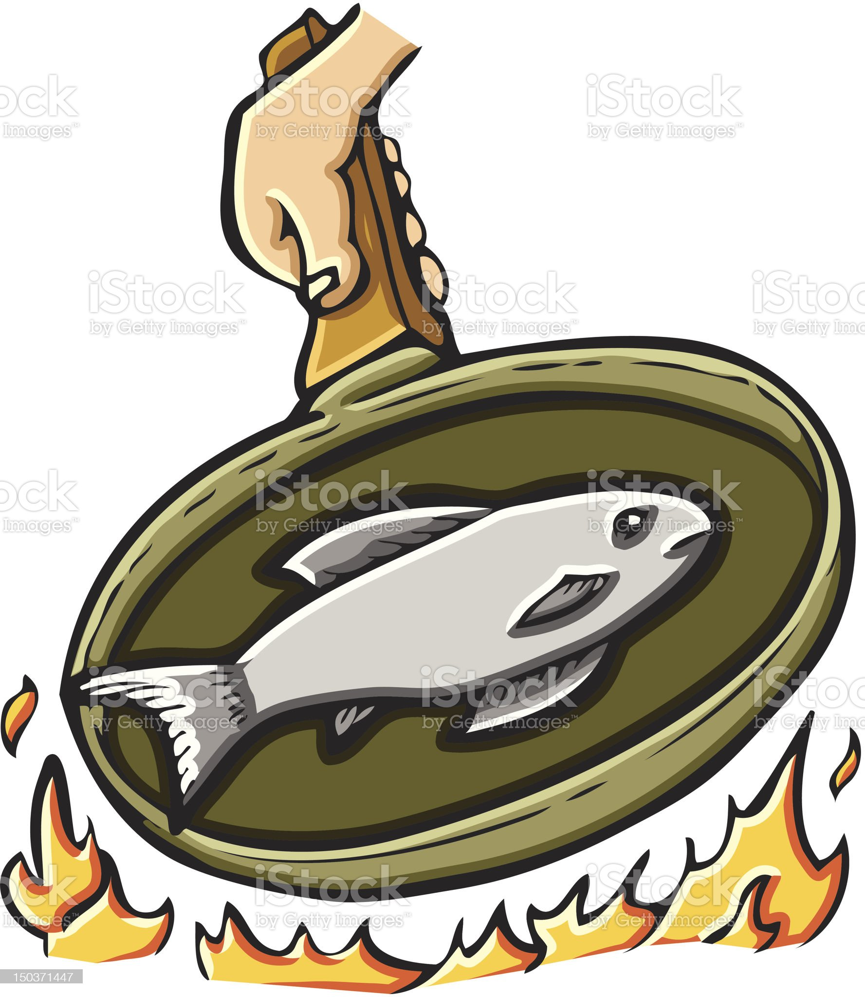 Frying Fish royalty-free stock vector art