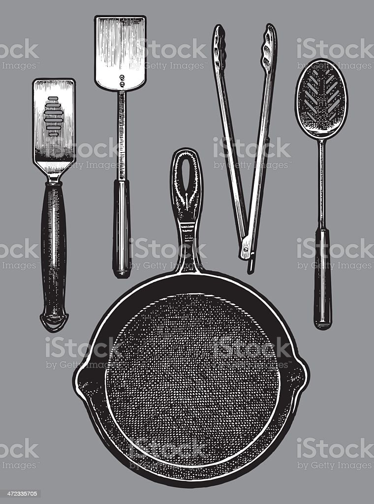 Frying Pan and Cooking Tools - Spatula, Tongs, Spoon vector art illustration