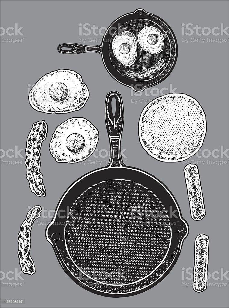 Frying Pan - Bacon, Eggs, Pancakes, Sausage vector art illustration