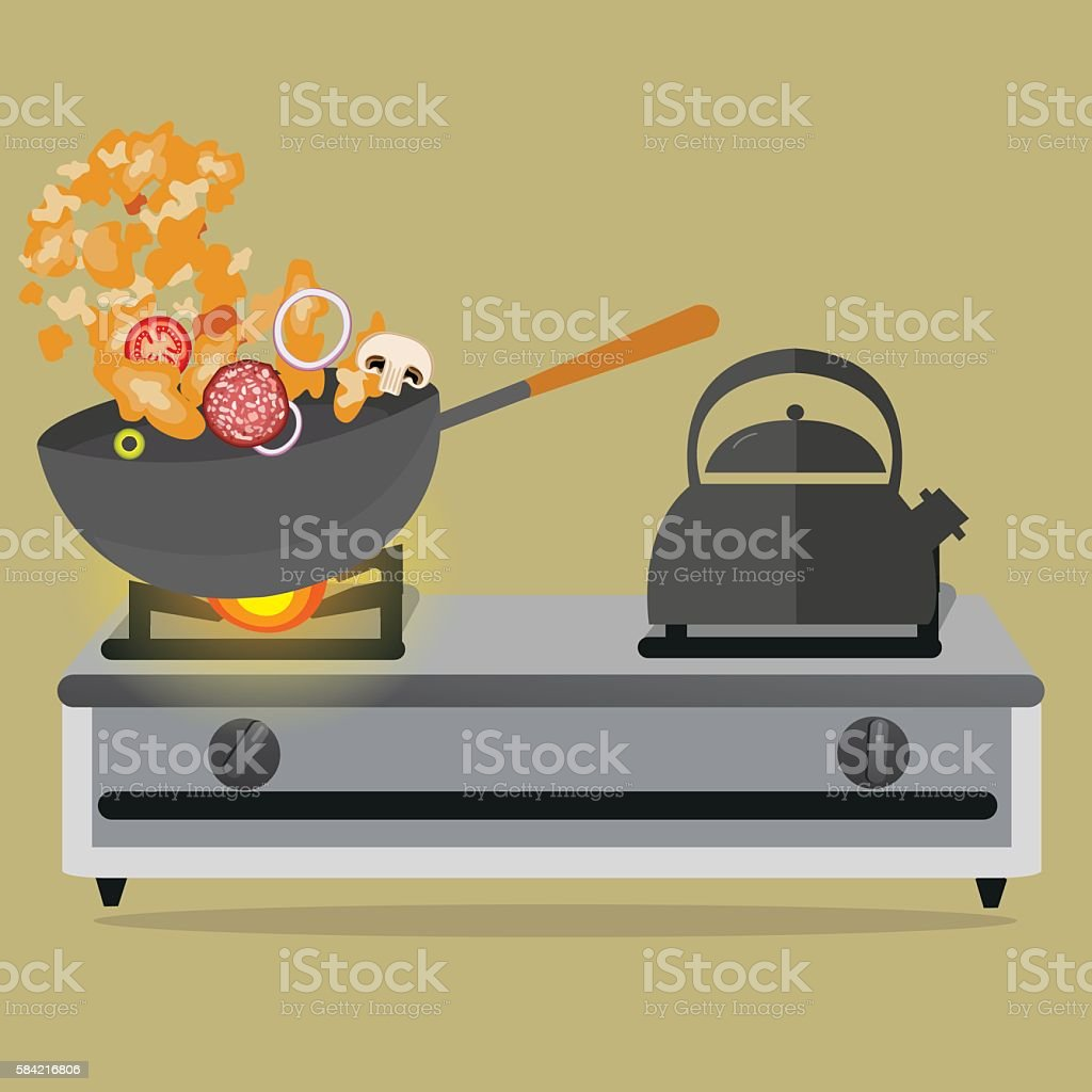 frying pan cooking stirred vegetable and meat on top of vector art illustration