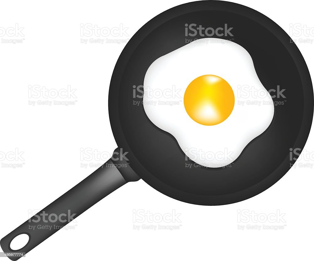 Frying pan egg vector art illustration