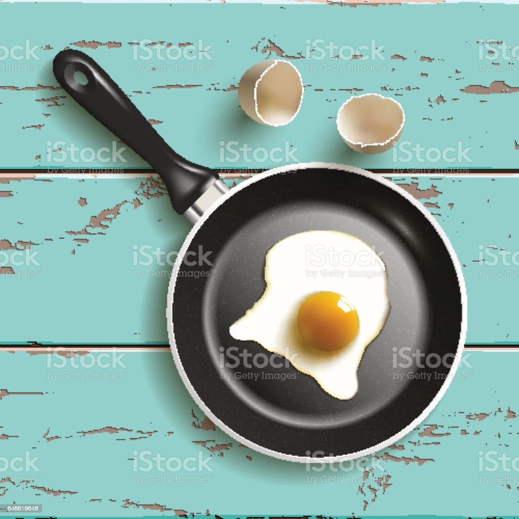 frying pan with egg vector art illustration