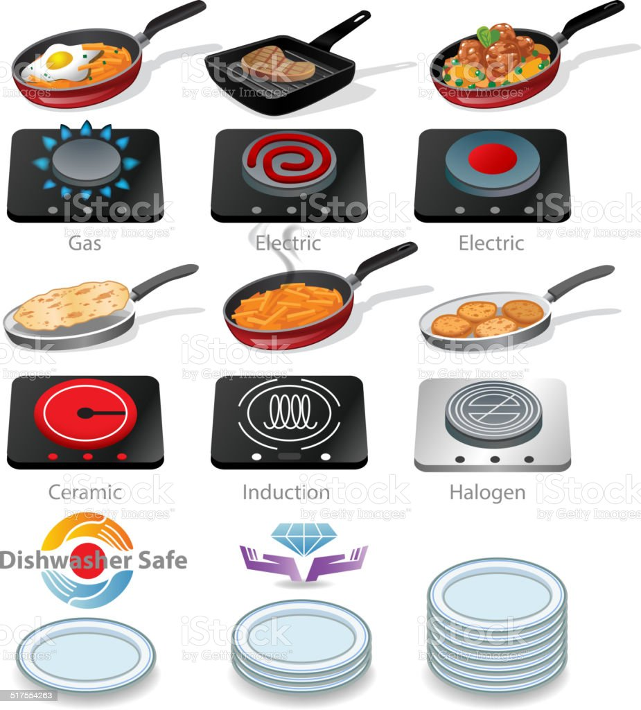 Frying pan with tasty food vector art illustration