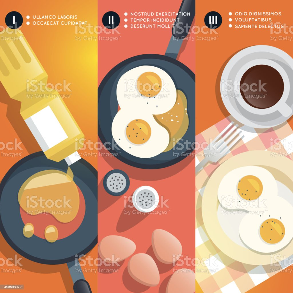 Frying scrambled eggs cooking instruction. Vector illustration vector art illustration