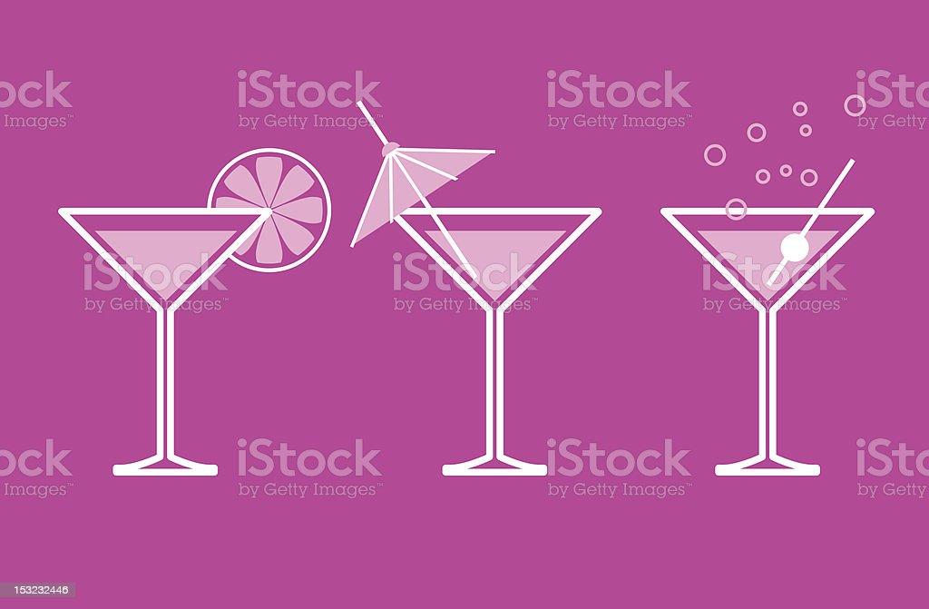 Fuchsia icon image showing three martini drink glasses vector art illustration