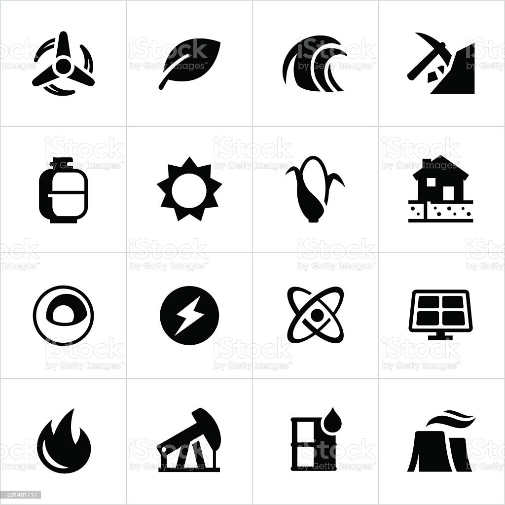 Fuel and Energy Icons vector art illustration