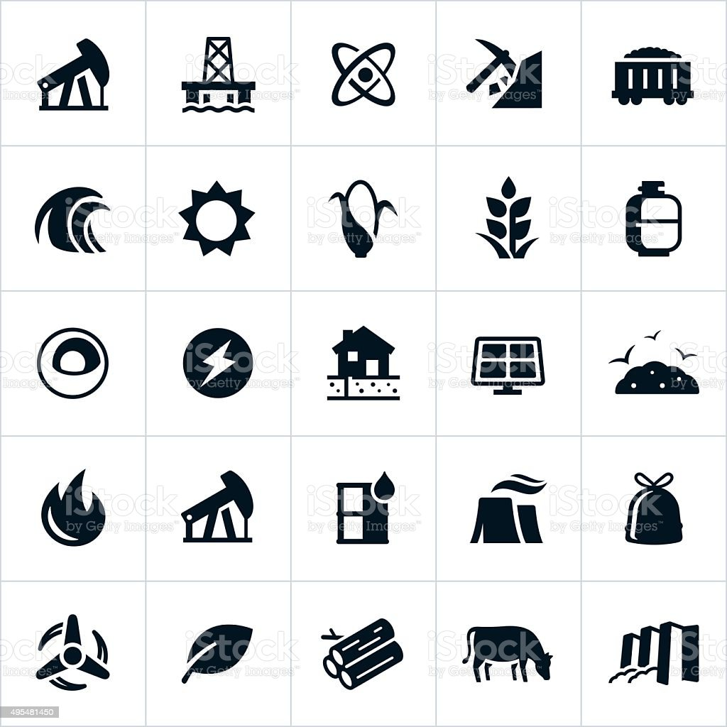 Fuel and Energy Production Icons vector art illustration