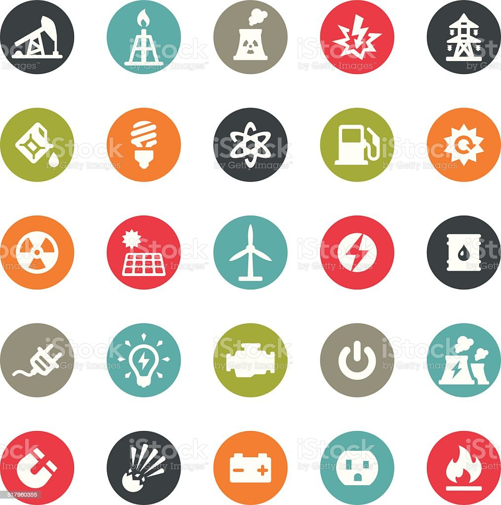 Fuel and Power Generation icons / Ringico series vector art illustration
