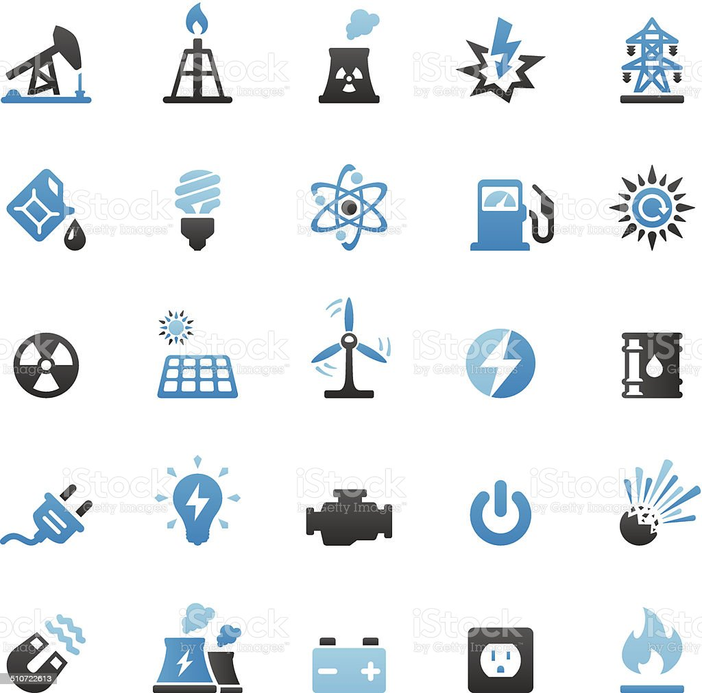 Fuel and Power Generation icons set vector art illustration