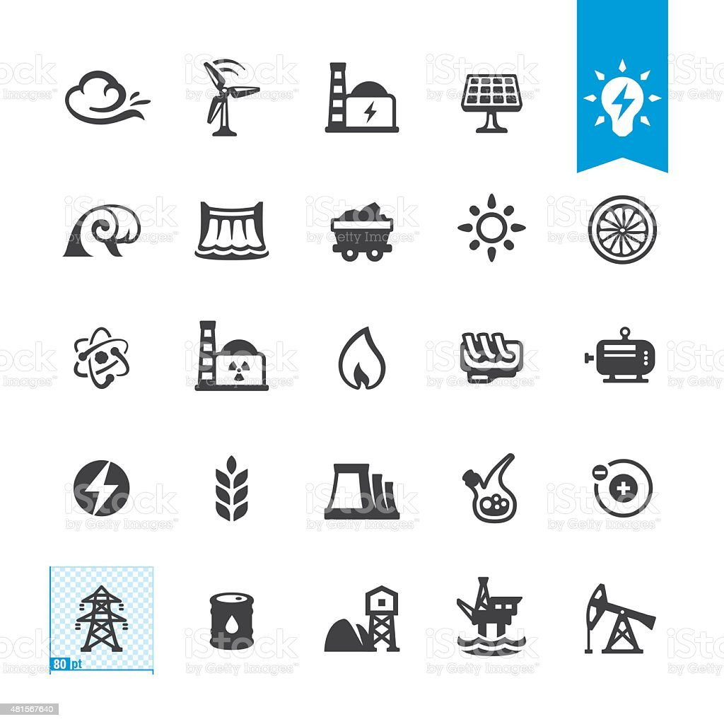 Fuel and Power Generation related vector icons vector art illustration