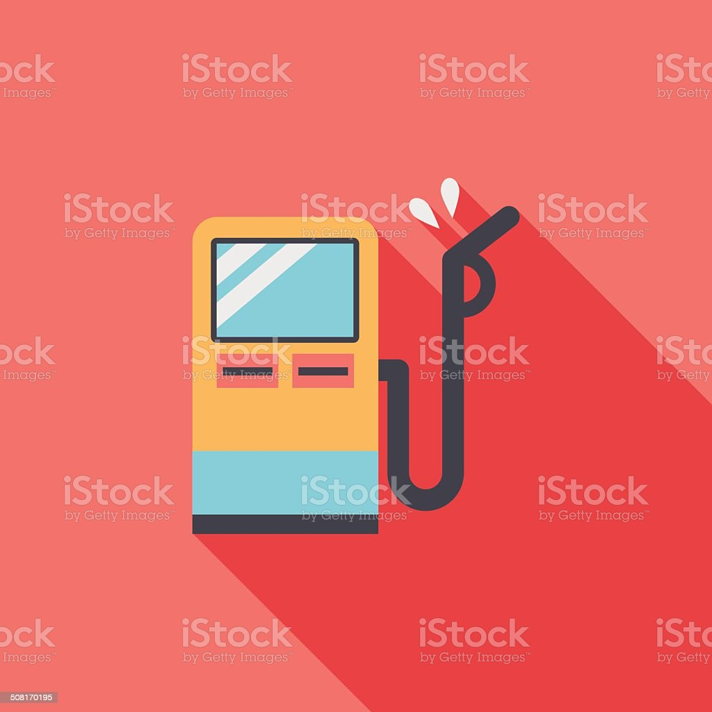 Fuel flat icon with long shadow vector art illustration