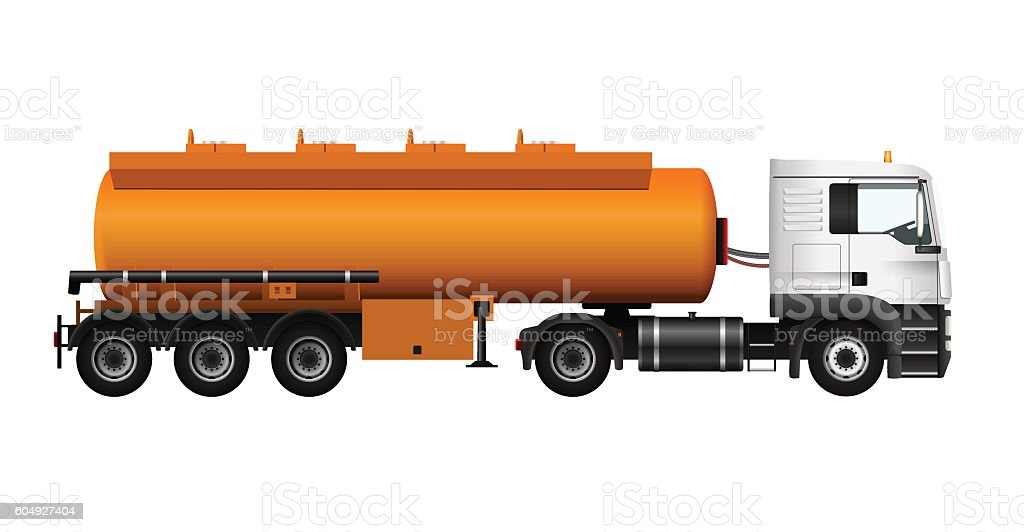 Fuel gas tanker truck template. Vector isolated cargo Trailer vector art illustration
