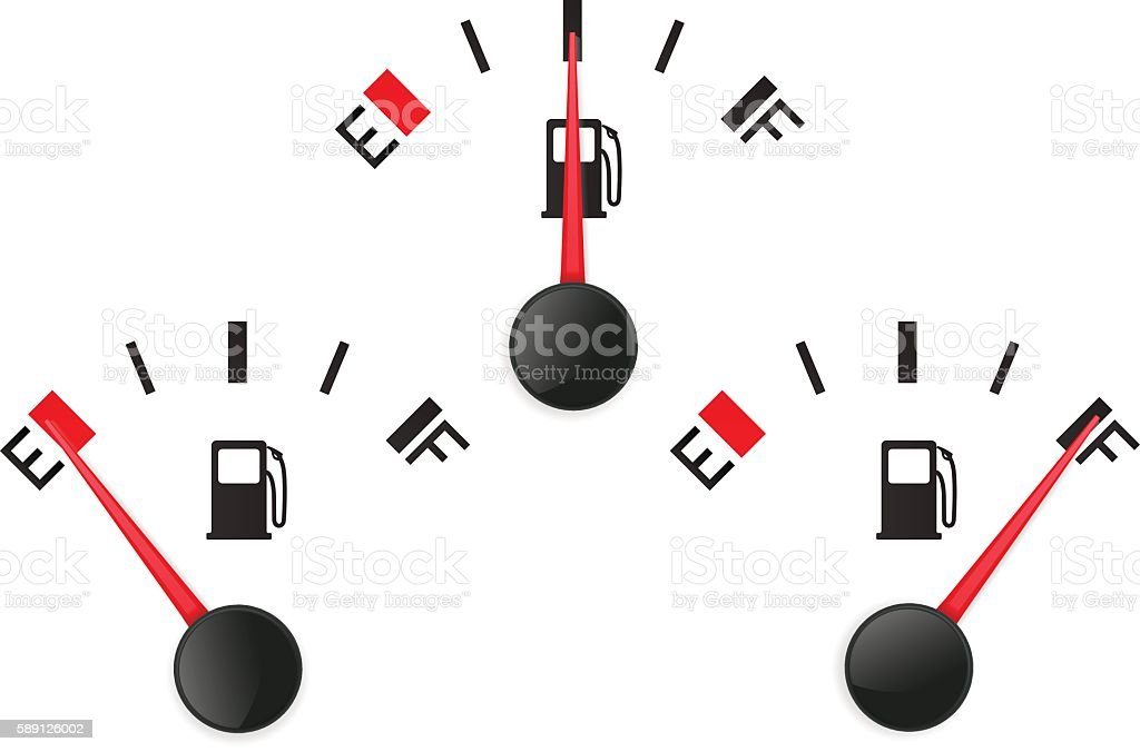 Fuel gauge. Empty and full vector art illustration