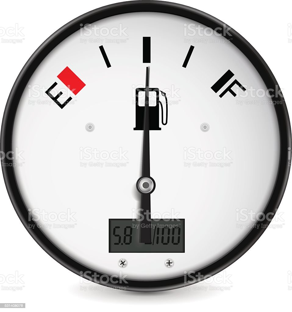 Fuel gauge. Half tanked vector art illustration