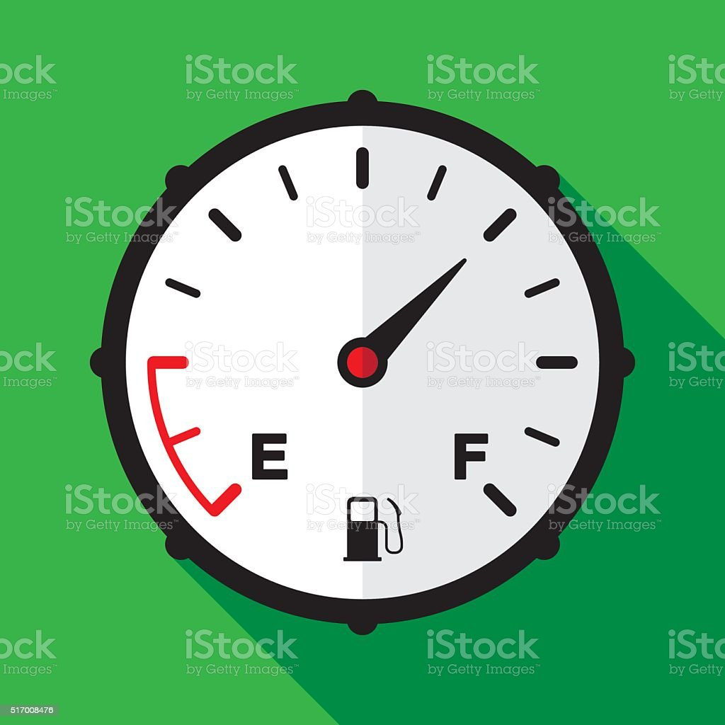 Fuel Gauge Icon Flat vector art illustration