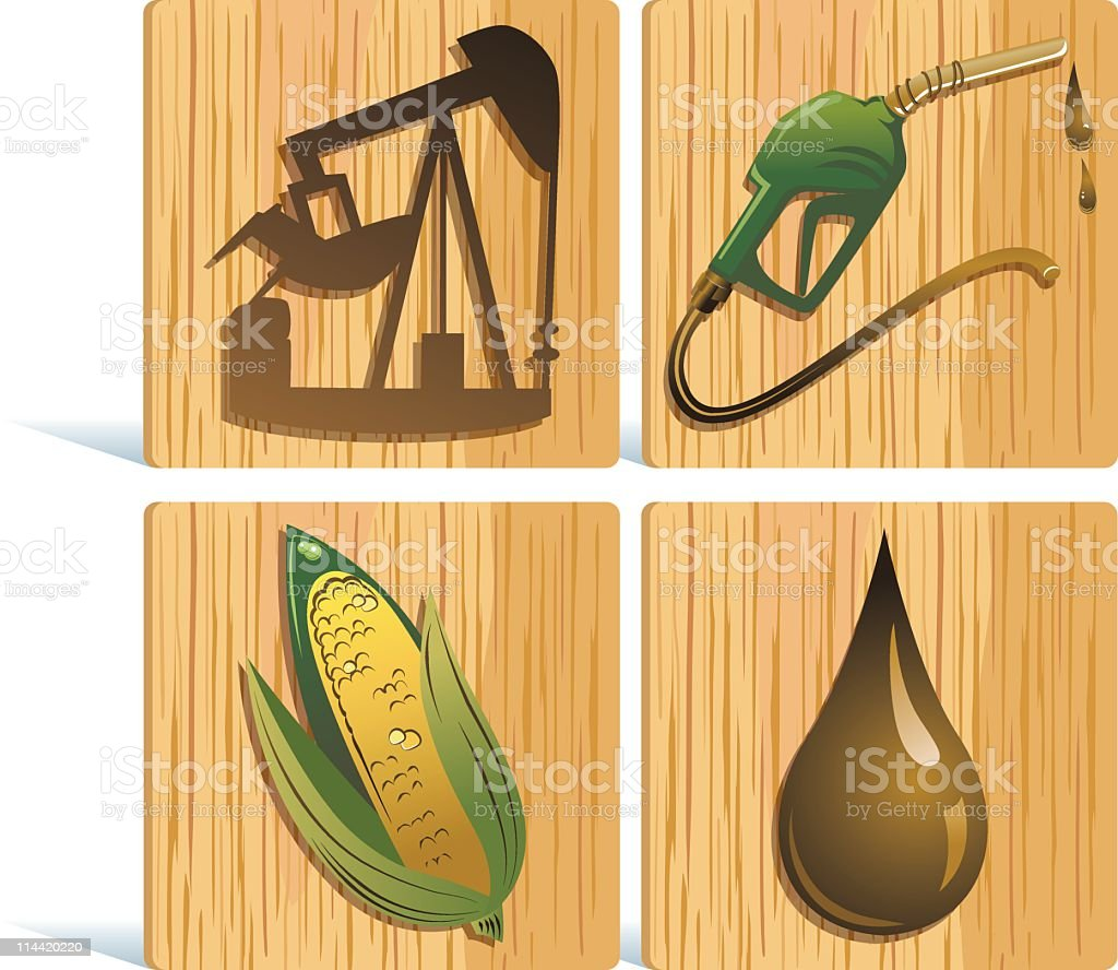 Fuel Icons on Wood vector art illustration