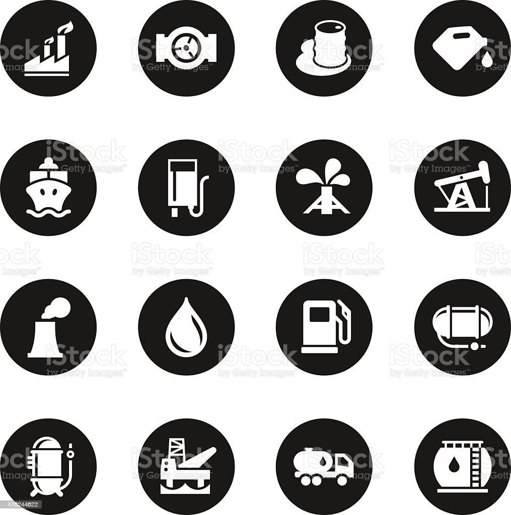 Fuel Industry Icons - Black Circle Series vector art illustration
