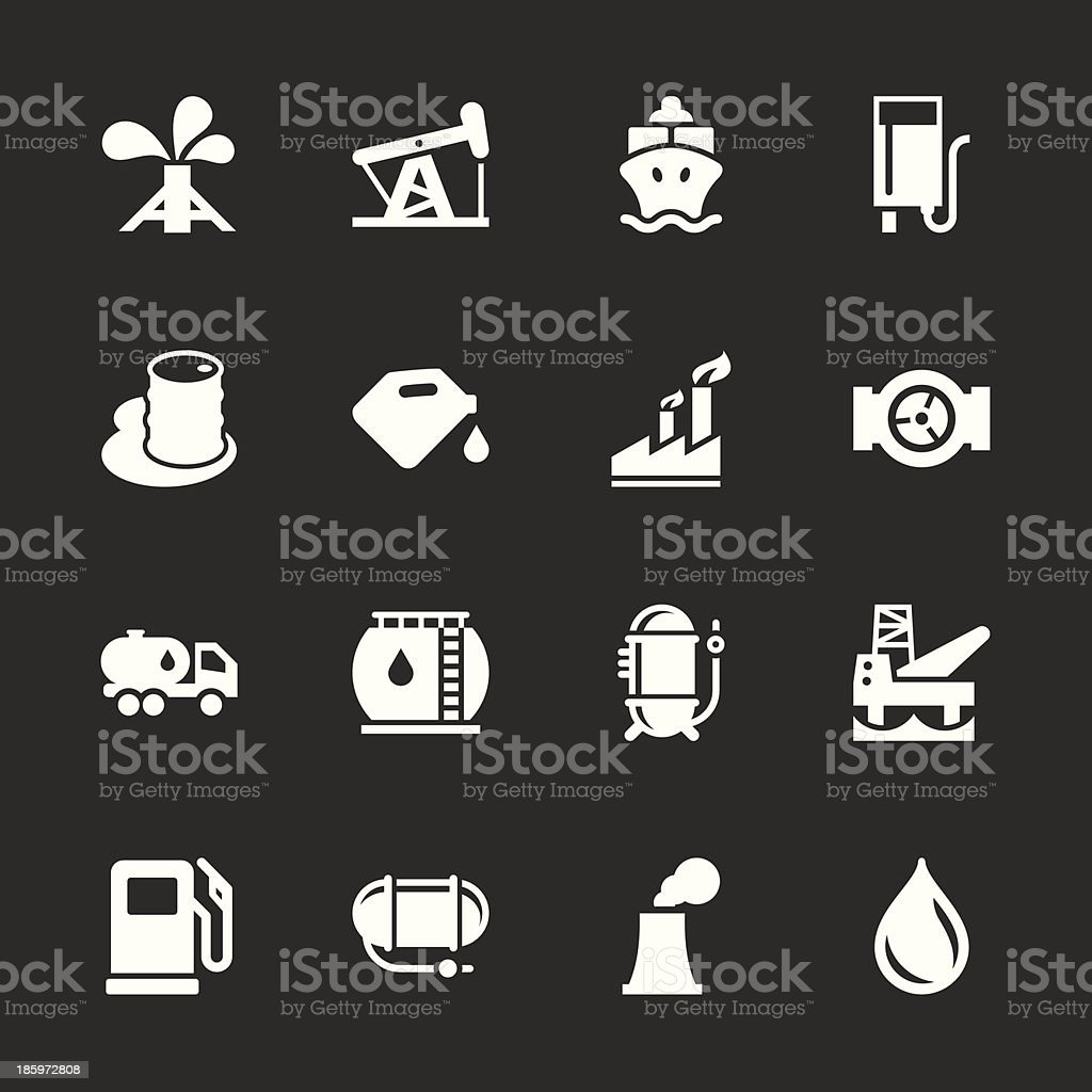 Fuel Industry Icons - White Series royalty-free stock vector art