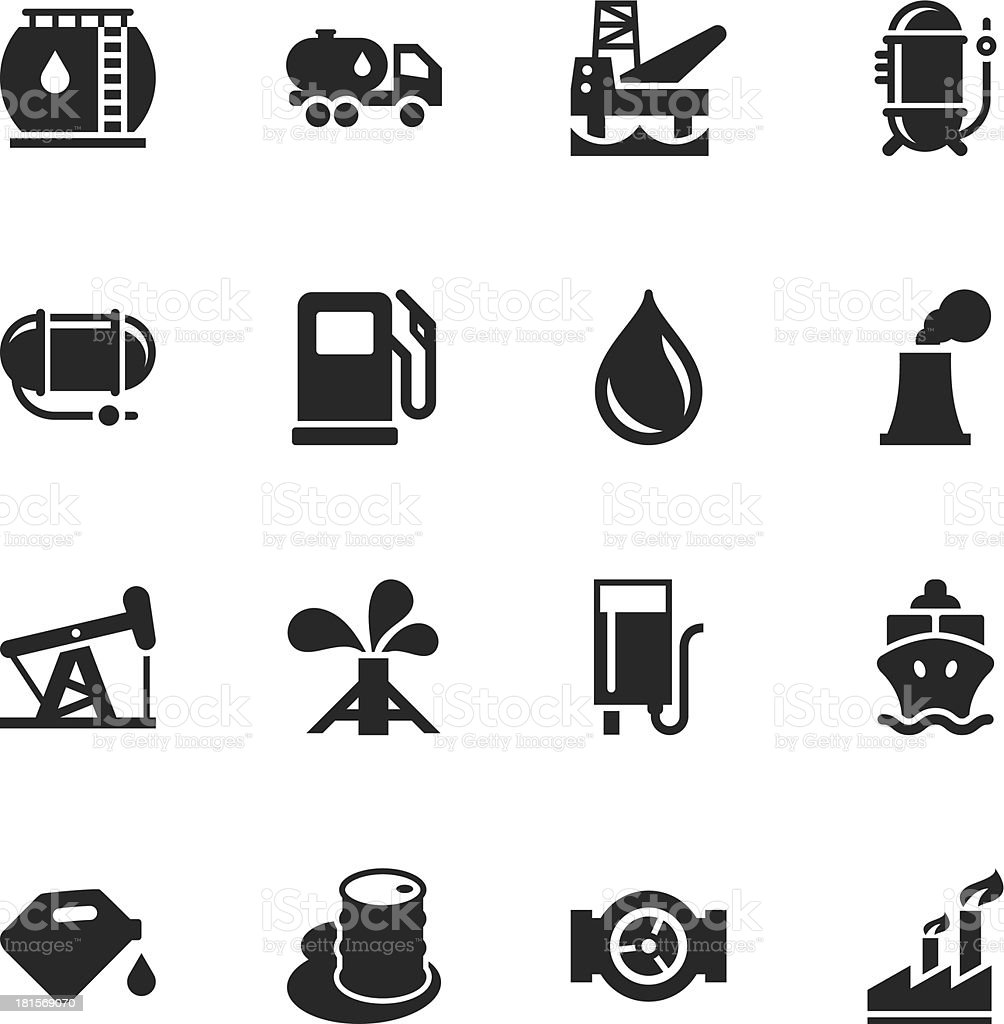 Fuel Industry Silhouette Icons vector art illustration