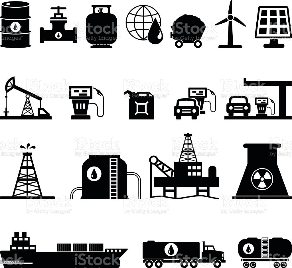Fuel, Oil and Energy Icons Set Vector Illustration vector art illustration
