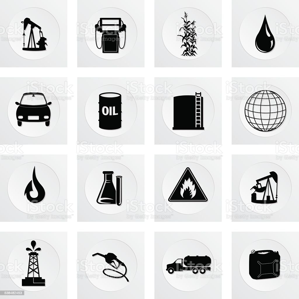 Fuel Oil Industry Round Icon Set vector art illustration