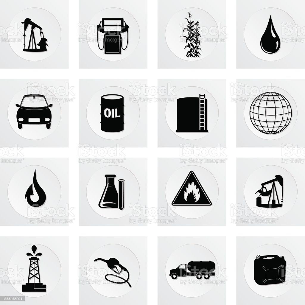 Fuel Oil Industry Square Icon Set vector art illustration
