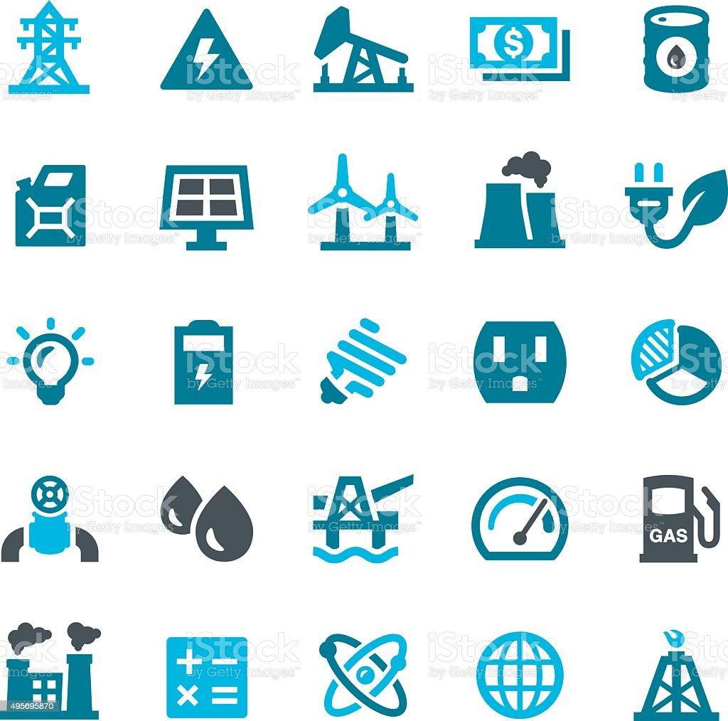 Fuel & Power Generation Icons vector art illustration