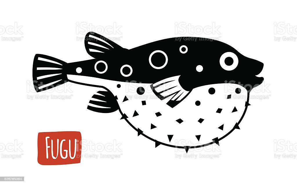 Fugu, vector cartoon illustration vector art illustration