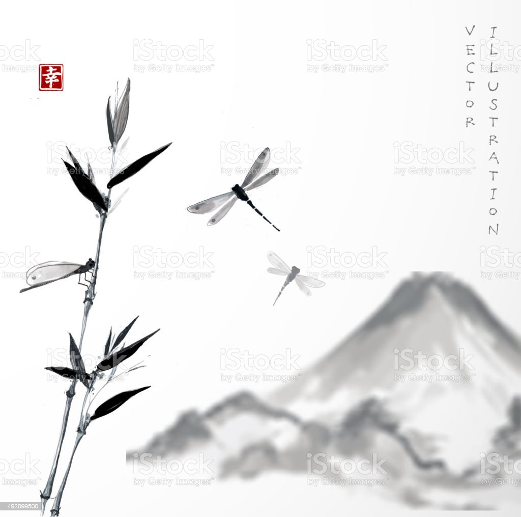 Fuji mountain, bamboo branch and dragonflies. vector art illustration