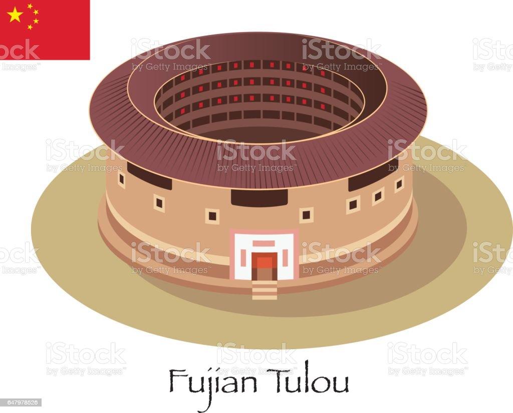 Fujian Tulou vector art illustration