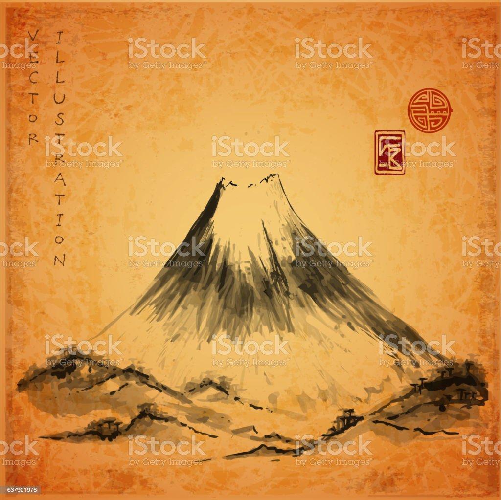 Fujiyama mountain hand-drawn with ink vector art illustration