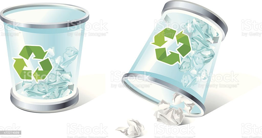 full & overturned trash  icons royalty-free stock vector art